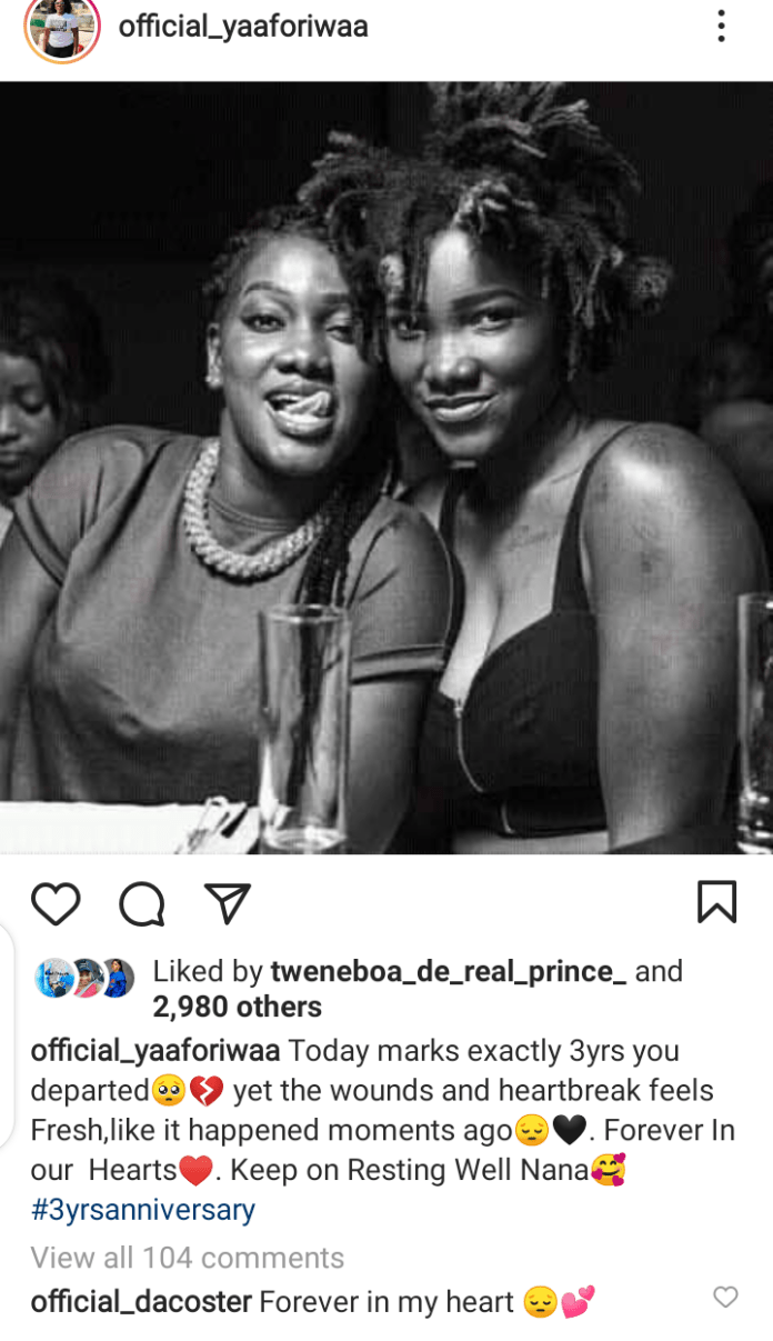 Ebony's Sister Yaa Foriwaa pens down emotional message as she Mourns Her Death 4