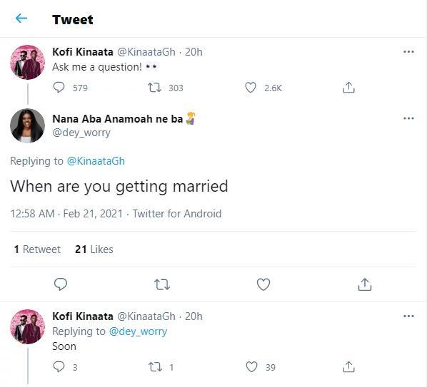 Kofi Kinaata hints on getting married - Screenshot 2