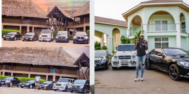 Adebayor's fleet of cars parked outside his mansion causes stir on social media (video) 1