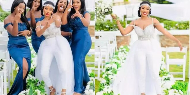 Beautiful Bride goes viral for wearing a jumpsuit wedding gown on her wedding day (photos) 1