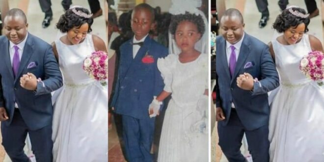 Couple finally marries after dating since class 2 - Photos 1