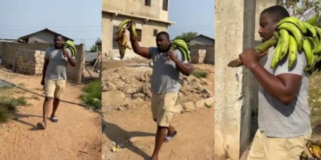 John Dumelo spotted selling plantain after losing elections - Photos 1