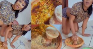 Efia Odo proves to be wife material, puts slaying aside and grinds pepper - Video 21