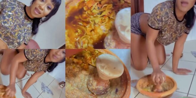 Efia Odo proves to be wife material, puts slaying aside and grinds pepper - Video 1