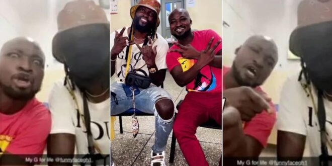 Watch the reaction of Funny Face when Adebayor visited him at the hospital - Video 1