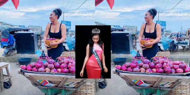 Popular Beauty queen spotted selling onions at the market. 1