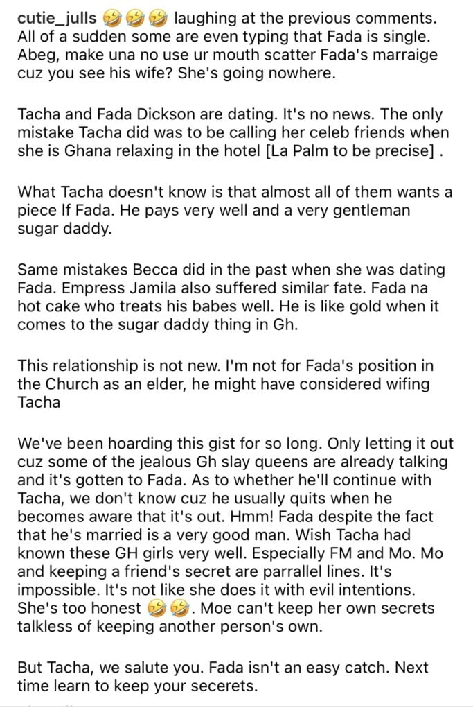 Details: Fadda Dickson and Tacha allegedly chopping themselves 4