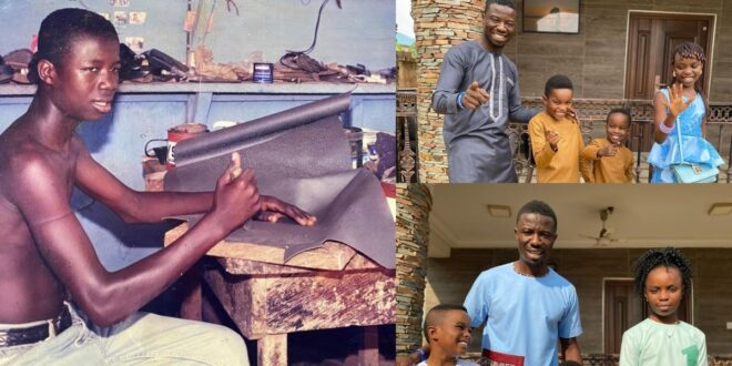 Kwaku Manu shares a throwback picture of himself when he was a shoemaker. 1