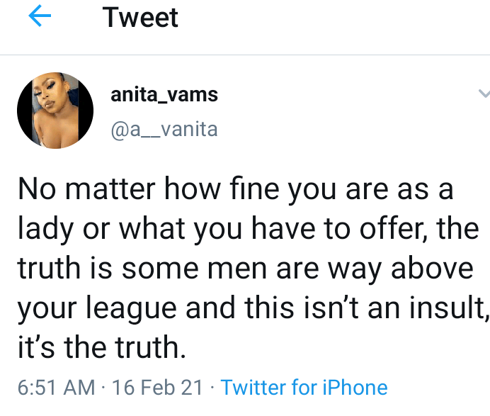 No matter how beautiful you are some Men are just above Your League - Pretty Lady claims 3