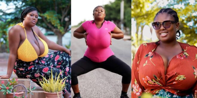 Meet the Ghanaian lady who has managed to overthrow Pamela Odame with her Huge B()0bs. (photos) 1