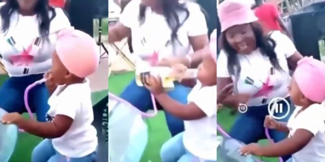 Shock!ng as mother gives her months old daughter Shisha to smoke - Video 1