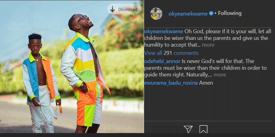 """God please let my son be wiser than me""- Okyeame kwame prays emotionally 2"