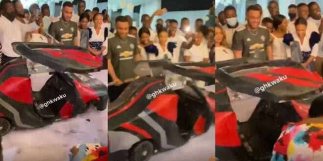 Watch the beautiful 'moving' car cake Kwadwo Safo Jnr had for his 35th birthday - Video 1