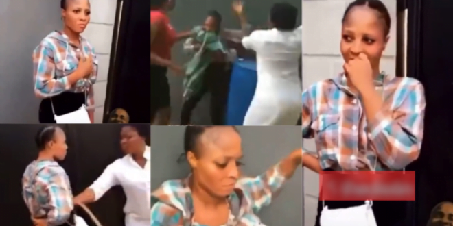 """Slay queen meets her meter as her """"sugar Daddy's"""" wife be.ats her with a cane on Valentine's day (video) 1"""
