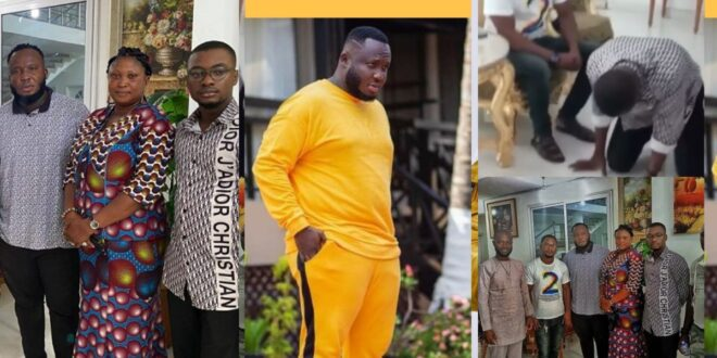 Yaw Berk and his mother kneel down infront of Kaywa to beg for forgiveness (video) 1