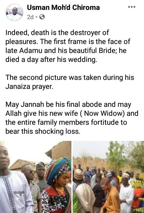 Sad - Man d!es a day after his wedding - Photos