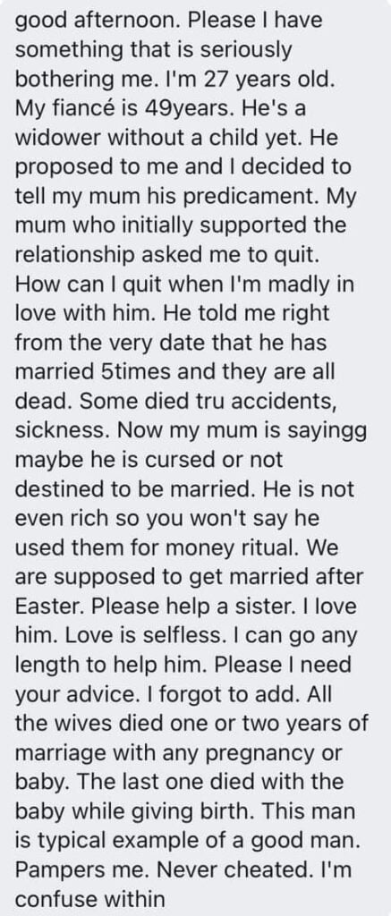 My Mum won't allow me to marry my 49-year-old fiance - 27-year-old Lady cries out