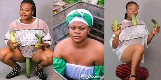 Lady goes viral on social media after she was pictured posing with cucumber (photos) 1