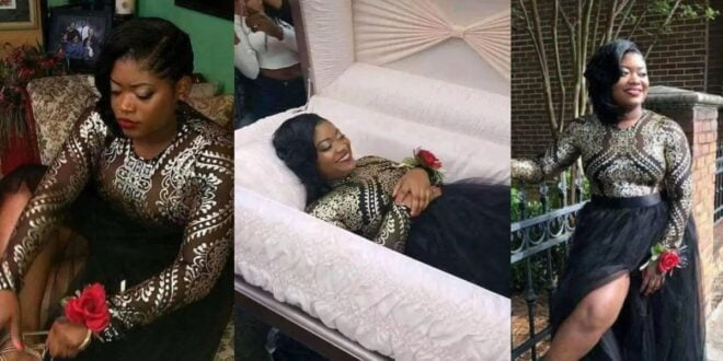 Lady shocks the Internet with her pre-burial photos 1