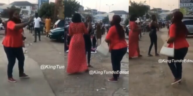 'Leave my husband alone'- Woman disgraces side chick in public after spotting her on the streets (video) 1