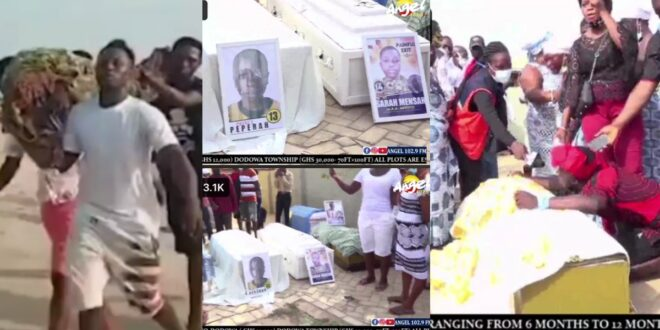 Sad Pictures from the burial ceremony for the 16 Apam Kids who drowned surfaces Online (photos) 1