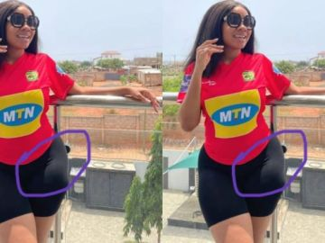 Serwaa Amihere exposed for wearing hip pads once again