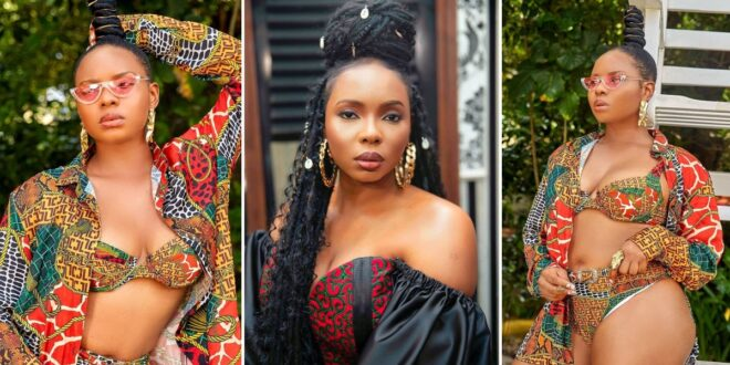 Yemi Alade thrills social media with her African Print Bikini Photos 1