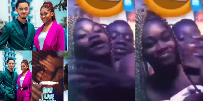 Naa Koshie, James Ian's girlfriend, is seen in a video chopping love in the arms of another man. 1