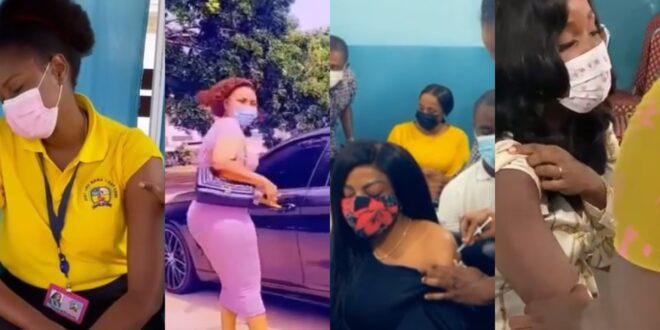 watch how Nana Aba, Sandra Ankobiah, Bola Ray, Yvonne Nelson, Mcbrown, Afia Schwar, and others react when takingC()VID-19 vaccine (videos). 1