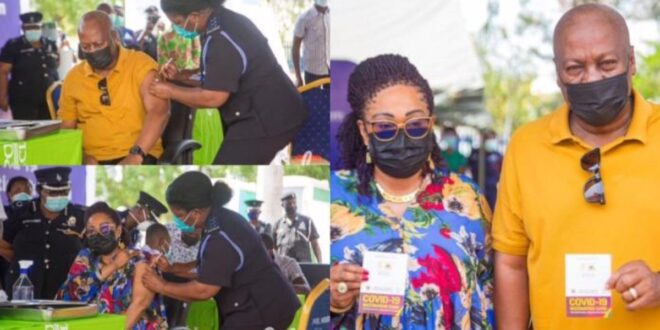 Video - Former Presidents John Mahama, J.A. Kufuor, and their wives receive C()VID-19 vaccines 1