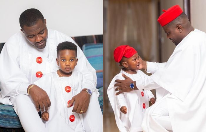 John Dumelo spends time with his son as he teaches him how to swim - Video