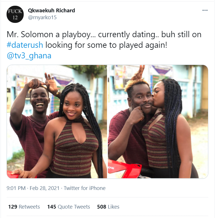 Solomon of Date Rush reportedly chopping another girl - Photos