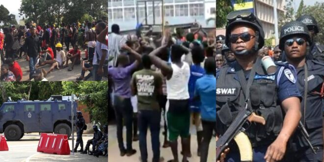Strong Police Presence At KNUST As Conti And Katanga Boys Fight, Injuring Some Students 1