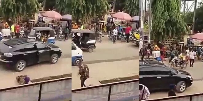 Lady goes M@d after she was shoved off from a Lexus Jeep in public (video) 1