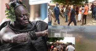 Angry youth sets Otumfuo's shrine on fire, Police intervein as they almost burnt the palace as well - Photos 1