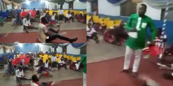 Watch video as Church Members fights Devil with Cutlasses in a prayer session 1