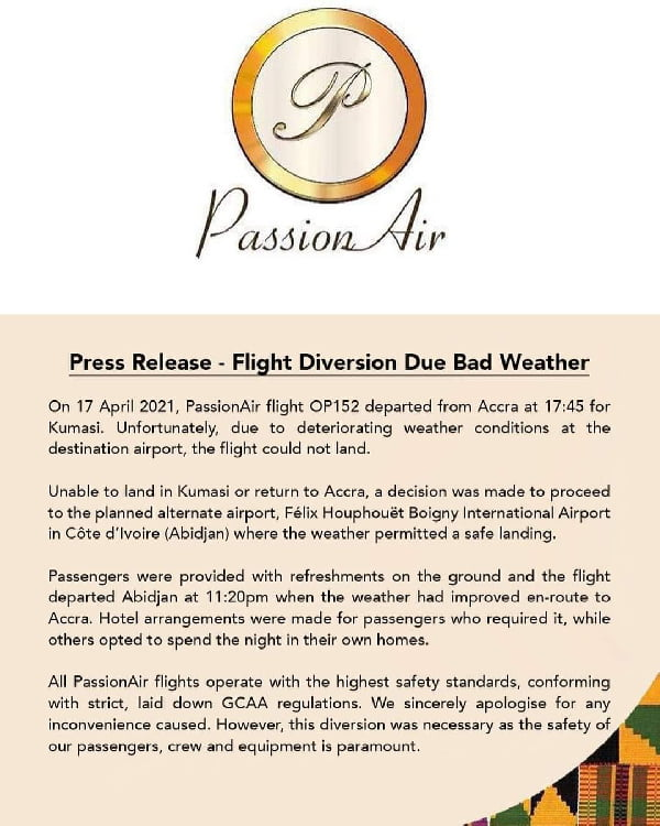 Accra-Kumasi flight lands in Abidjan due to bad weather 3