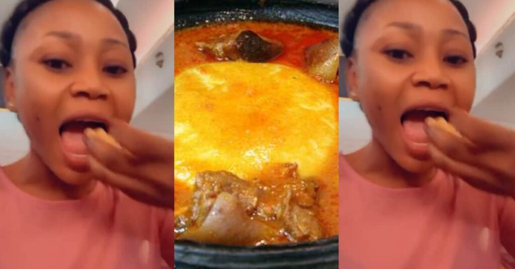 Akuapem Poloo enjoys freedom with a huge bowl of Fufu in a new video 2