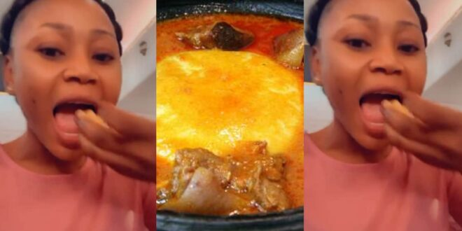 Akuapem Poloo enjoys freedom with a huge bowl of Fufu in a new video 1