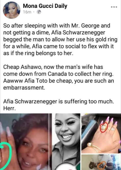 Mona Gucci reveals how Afia Schwarzenegger sold her cheap pu$$y for a gold ring to flex on social media 3