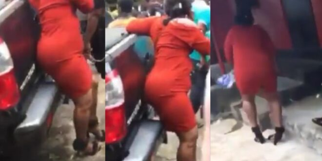 Lady cries as she struggles to walk in high heels in town (video) 1