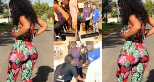 Lady slaps boyfriend, collects slippers, phone, and items she bought for him in public - Video 4