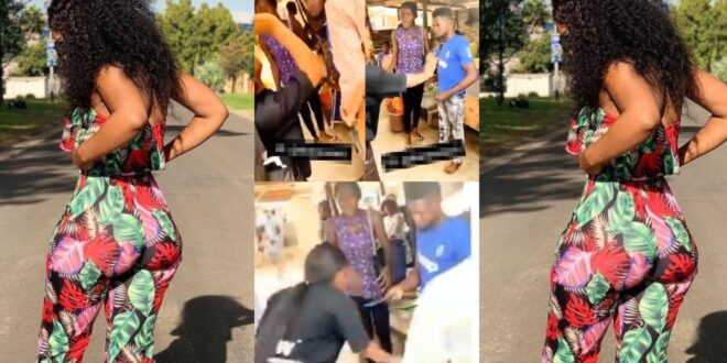 Lady slaps boyfriend, collects slippers, phone, and items she bought for him in public - Video 1