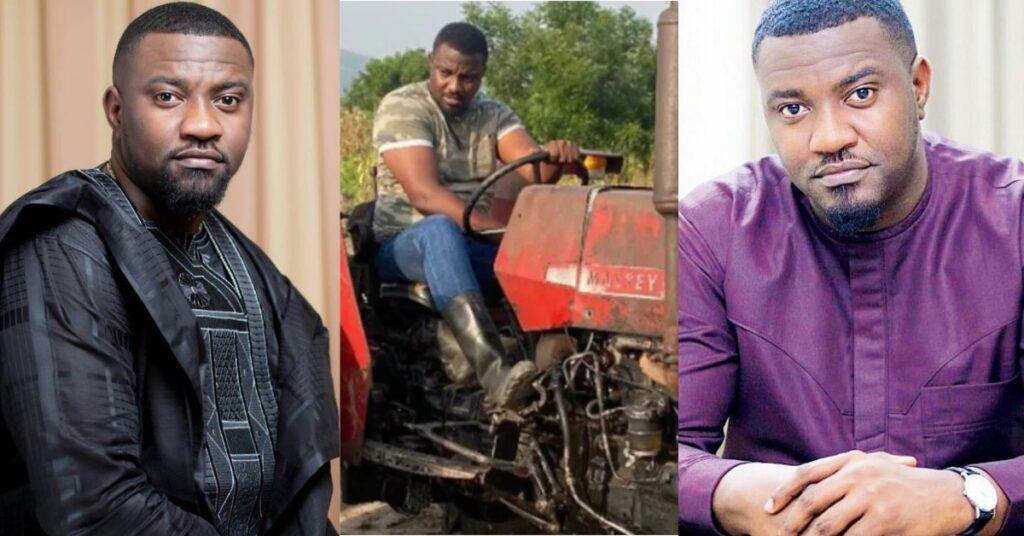 New video of John Dumelo driving tractor with skills on his farm surfaces 2