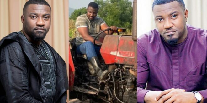 New video of John Dumelo driving tractor with skills on his farm surfaces 1