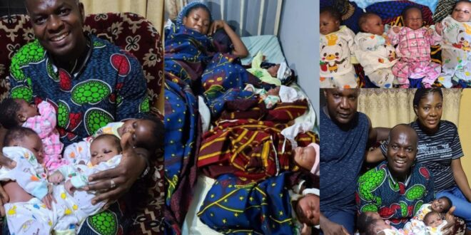 Nigerian Woman Beautifully Welcomes Quadruplets After 16 Years Of Marriage - Photos 1