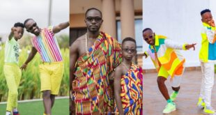 Okyeame Kwame and his son, twin up in stunning kente outfits (photo) 17