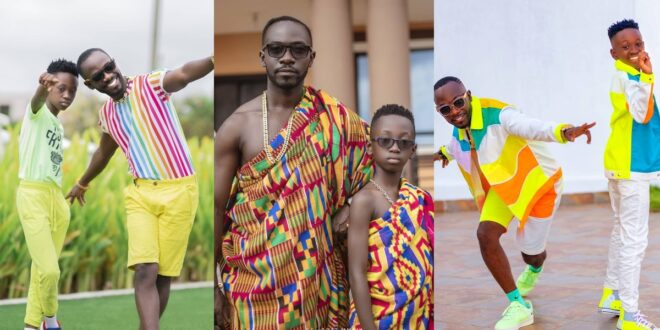 Okyeame Kwame and his son, twin up in stunning kente outfits (photo) 1