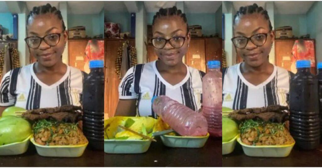 Pretty Lady sh0ckingly consumes mountain of 'gob3', kebab, 3 mangoes & 2 bottles of sobolo - Photos 2