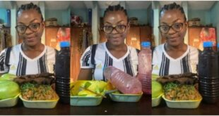 Pretty Lady sh0ckingly consumes mountain of 'gob3', kebab, 3 mangoes & 2 bottles of sobolo - Photos 18